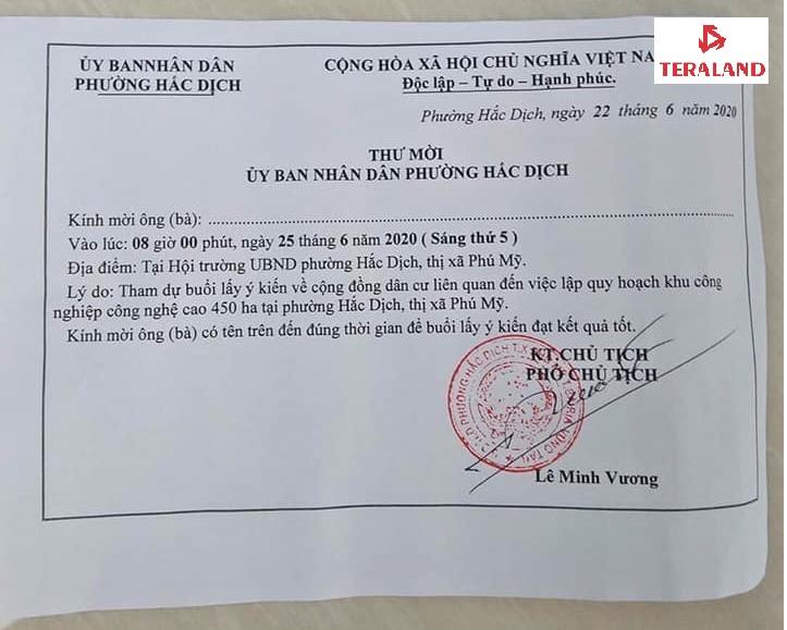 thư mời họp về KCN 450ha